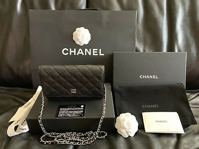 0e4884c78fee58 NEW CHANEL Classic Wallet On Chain Black Caviar Leather Silver Made In  France