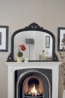Large Wall Mirror Vintage Style Arched Black Overmantle Wood 4Ft2 X 3Ft 127x91cm