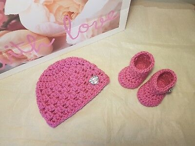 Baby girls hand crochet newborn hat and booties set with crystal heart buttons