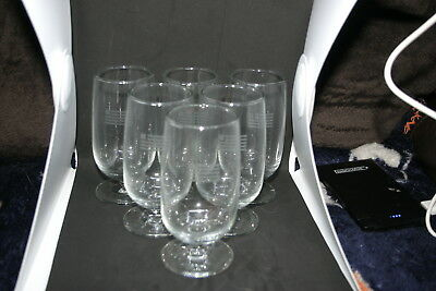 Set of Six (6) 6oz Wine Glasses - NEW....US Airways with US Flag: From Master CS