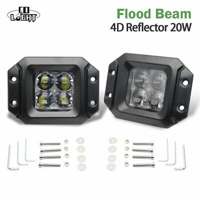 CO LIGHT Led Working Lights 2 Pieces 20W Spot Flood Beam DRL for Jeep Wrangler J