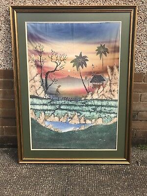 Huge collectible 120mm x 85mm Asian art on silk signed & Framed Chinese Thai