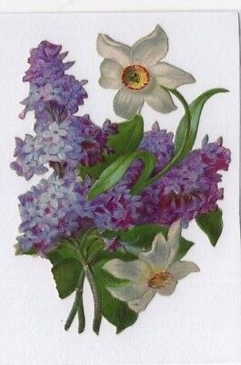 1800's Victorian - Purple White Flower - Diecut - Selling Lot Of Scrap Cards