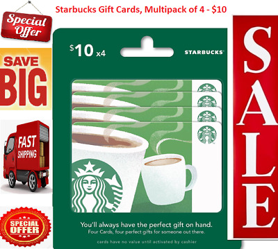 NEW Starbucks Gift Card Multipack of 4 $10 Coffee Lover 2018 Redeemable Activate