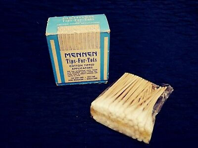 Vintage Advertising Mennen Tips-For-Tots Cotton Tipped Applicators in Box