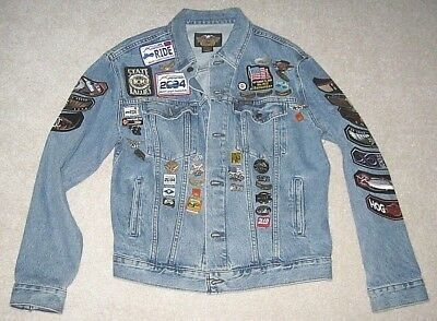 Older Harley Davidson Motorcycle Denim Jacket with Many Pins and Patches - Sz L