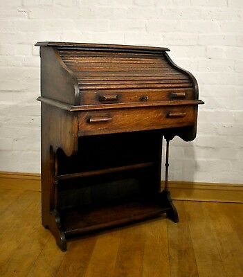 Antique vintage small early 20th century tambour roll top writing desk