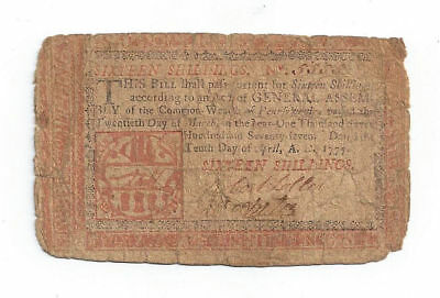 "1777 Pennsylvania Colonial Currency Sixteen Shilling ""Red"" Note No.5555"
