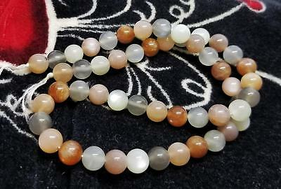 51 NATURAL MULTI COLOR MOONSTONE ROUND BEADS 8mm TAN PEACH GRAY CHOCOLATE AAA+++
