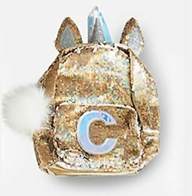 "Justice Initial ""C"" Unicorn MINI Gold Flip Sequin Backpack NEW NWT"