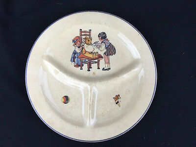 Vintage Retro Ceramic Child's Plate Divided Dish Girls Feeding Teddy Bear
