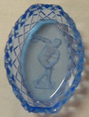 Blue Oval Intaglio Open Salt - Discus Thrower