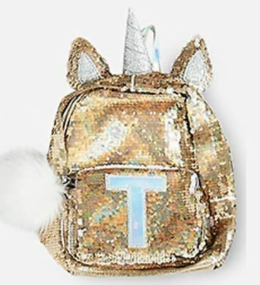 "Justice Initial ""T"" Unicorn MINI Gold Flip Sequin Backpack NEW NWT"