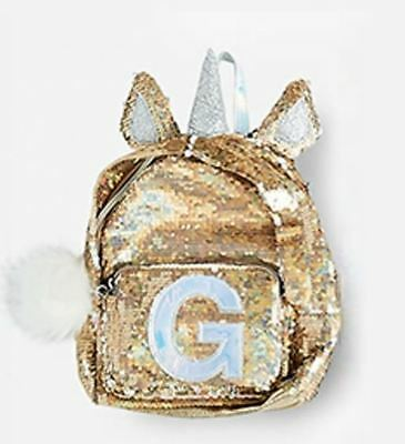 "Justice Initial ""G"" Unicorn MINI Gold Flip Sequin Backpack NEW NWT"