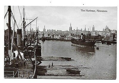 ABERDEEN The Harbour RP Early Valentines Postcard
