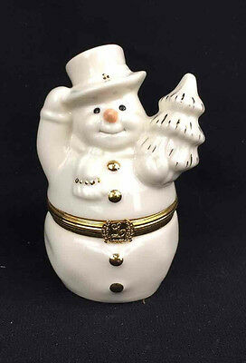 Lenox Treasures The Snowman's Surprise Box 1st Issue Holiday Hinged Trinket Box
