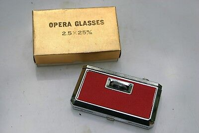 "JAPAN FOCAL FOLDING OPERA/SPORT GLASSES 2.5 x25 m/m 'HOT RED""  Original Box"