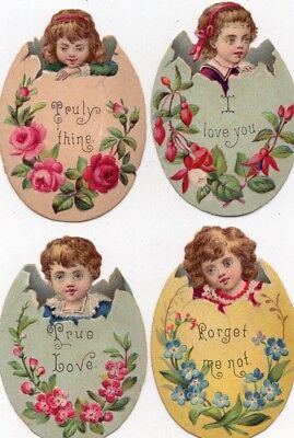 1800's Victorian - Valentine Egg Children Diecut Lot  - Selling Lot Of Scrap