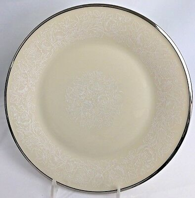 Lenox Moonspun China 2 Dinner Plates 10 3/4 inch White Floral on Ivory