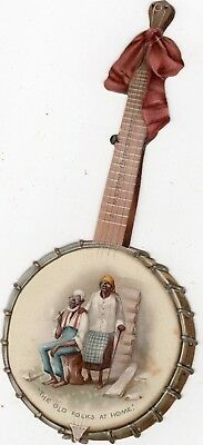 1800's Victorian - Black Americana Banjo Christmas Diecut  -Selling Lot Of Scrap