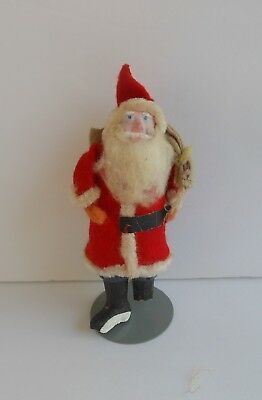 Antique Paper Mache Santa Claus with BluePants & Metal Stand~Old Christmas~as is