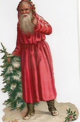 1800'S VICTORIAN - SANTA CLAUS w TREE CHRISTMAS DIECUT  -SELLING LOT OF SCRAP