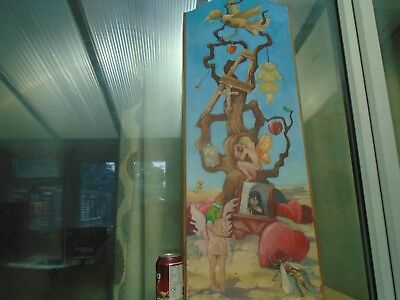 large hand painted wooden panel with random tattoo design artwork  TAKE A LOOK