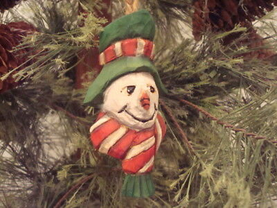 """3 1/4"""" Hand Carved Basswood Heirloom Red & White  Striped Hat Snowman  Ornament"""