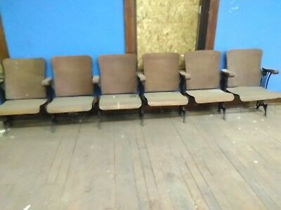 Outstanding Vintage Theater Seating 4 Seat Wood Attached Folding Chairs Dailytribune Chair Design For Home Dailytribuneorg
