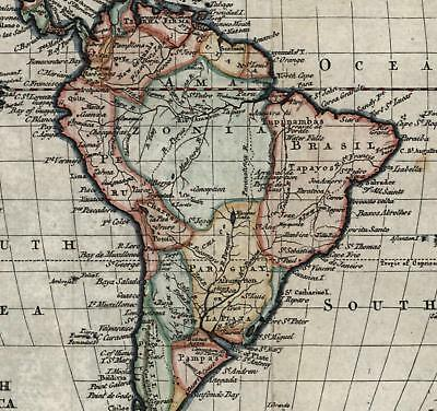 South America continent c.1785 T. Kitchin beautiful old map hand color