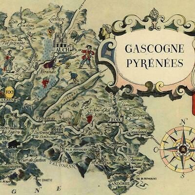 Gascony Pyrenees France small cartoon map c. 1950 decorative colorful old map