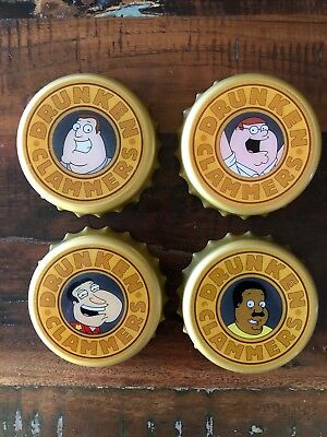 "2006 Family Guy Light Up ""Drunken Clammers"" Drink Coasters w/Auto Shut off RARE"