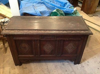 Exceptional Ornate 18th Century Carved Oak Mule Chest Coffer Chest Rare