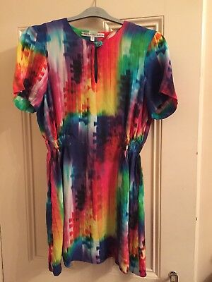 And Other Stories Rare Retro Rainbow Tie Dye Designer A Line Dress Size 12/40