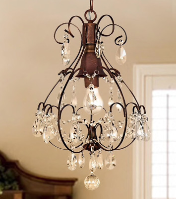 Rustic Crystal Chandelier Light Fixture Hanging Pendant Teardrop Lighting Foyer