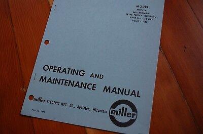 Miller Wire Feeder Manual | Miller Welder Millermatic 30a Control Wire Feed Owner Operator