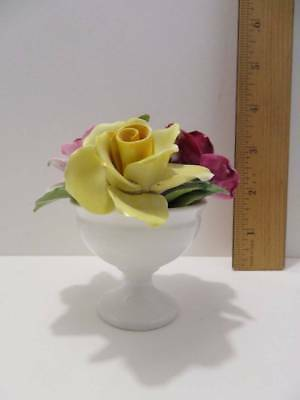 """Fine Bone China Crown Staffordshire Roses Flowers in Vase Miniature 3 1/2"""" Tall"""