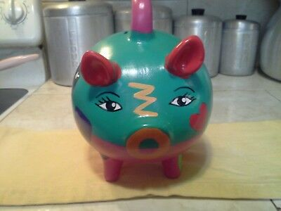 Mexican Never Used Hand Painted Pottery Piggy Bank Fun Made in Izamal Yucatan