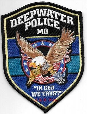 "*NEW*  Deepwater, MO ""In God We Trust""  (4"" x 5.5"") shoulder police patch (fire)"