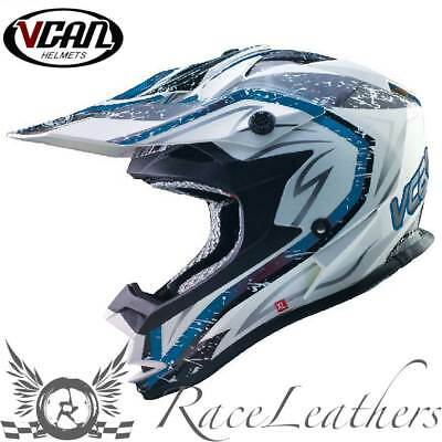 Vcan V321 Storm Blue Mx Motocross Enduro Motorcycle Motorbike Dirt Bike Helmet