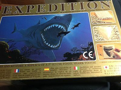 "EXPEDITION Kit-16 MILLION Year-old Shark Tooth + 5"" Giant Replica to dig/restore"