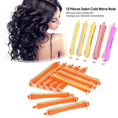 12 Pieces Salon Cold Wave Rods Hair Roller With Rubber Band Curling Curler Q2T4