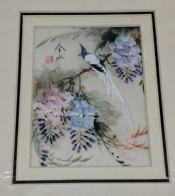Vintage Chinese Original Watercolor on Silk Hand-Drawn Birds Flowers Signed