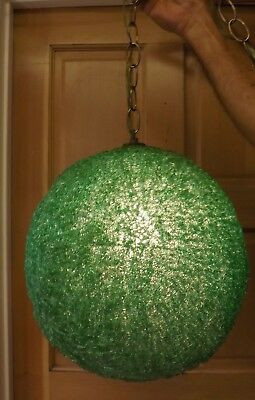 Retro Vintage Lucite Green Swag Hanging Lamp Wired