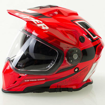 Viper Rxv288 Flame Red 3 In 1 Motorcycle Mx Enduro Dual Sport Street Helmet