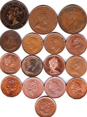 16 different 1-CENT coins from CANADA some scarce