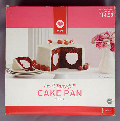 WILTON Heart Tasty Fill Cake Pan Non Stick 2 PC Set NEW