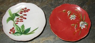 2 Antique Butter Pats Hand Painted 1884 Floral