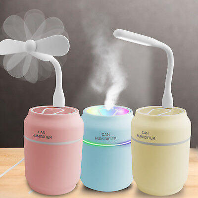 Mini Silent Humidifier Desktop Air Purifier Diffuser With USB Fan & Night Light