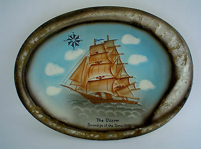 Amazing Hand Painted Large ashtray of Sailing Vessel Sovereign of the Seas 1852